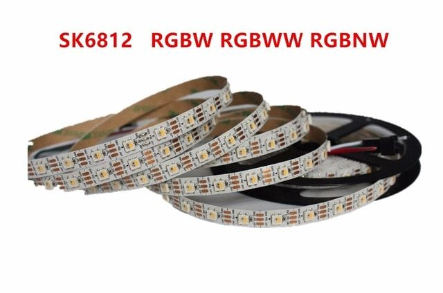 DC5V 5M 5050SMD 60LED/M SK6812 IC 4 Color in 1 Chip RGBW or RGBWW Individually Addressable LED Pixel Strip IP20 NO waterproof