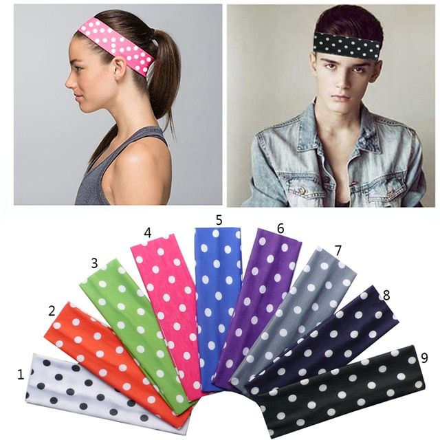 2 inch Polka Dots Prints Boys Girls Softball Cotton Stretch Headbands Cotton Hair Bands Hair Accessories Multi Colors