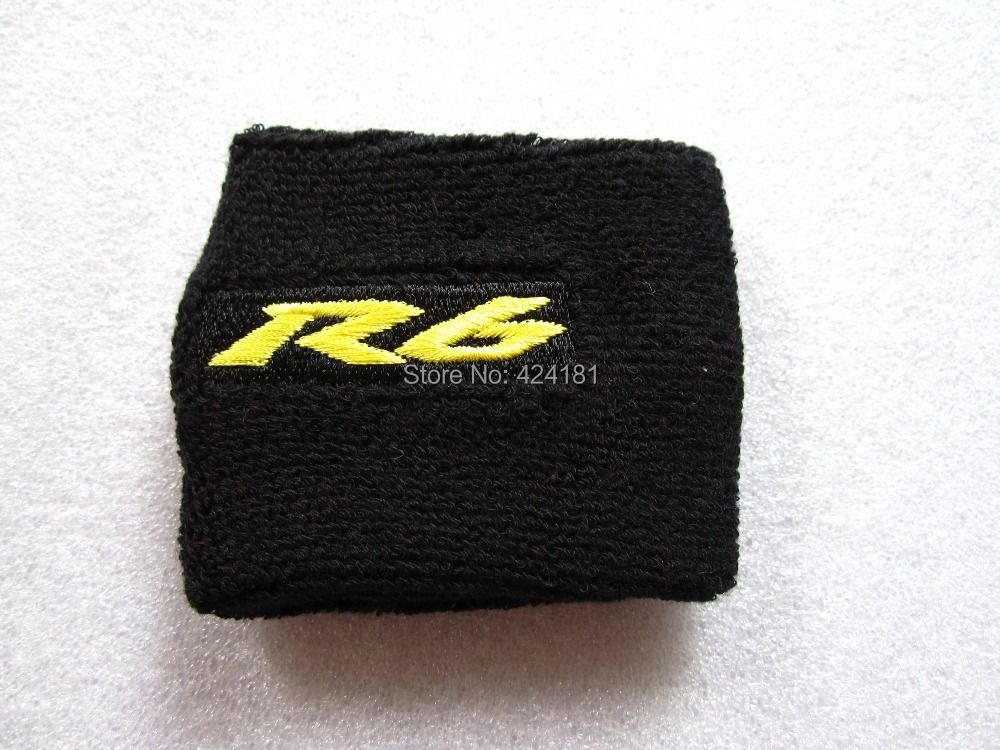 MOTORCYCLE R6 BRAKE RESERVOIR SOCKS FLUID OIL TANK CUP COVER SLEEVE For YZF R6  BLACK&Yellow