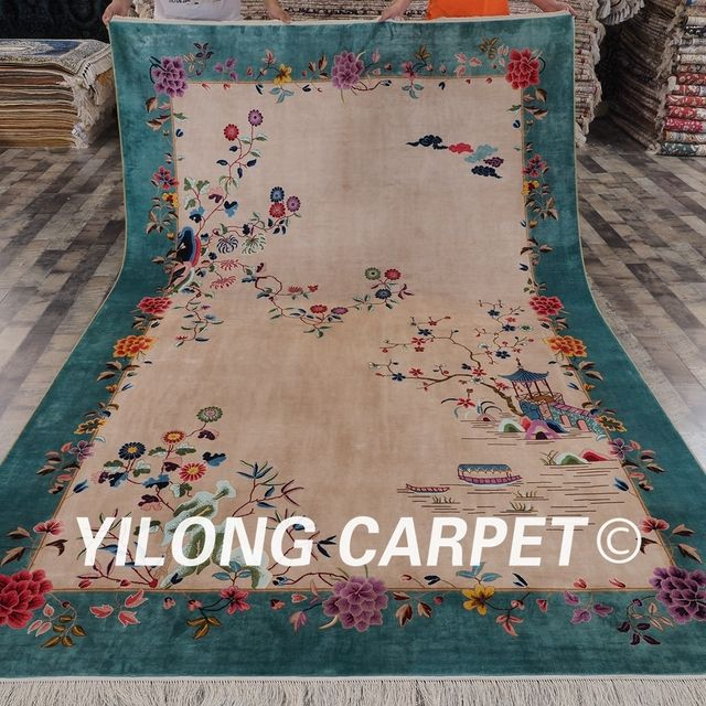 YILONG 2x3m Chinese Culture Exclusive Design Handknotted Handmade Oriental Silk Carpet (ZQG87A6.56x9.84)