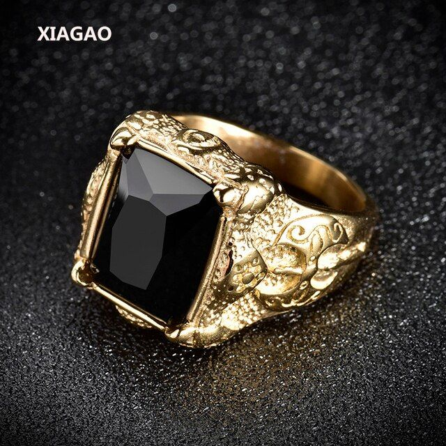 XIAGAO Ring for Man 2 color Black Square Stone Titanium Stainless Steel Men Ring Fashion Male's Cross Ring for Boy XGBR163