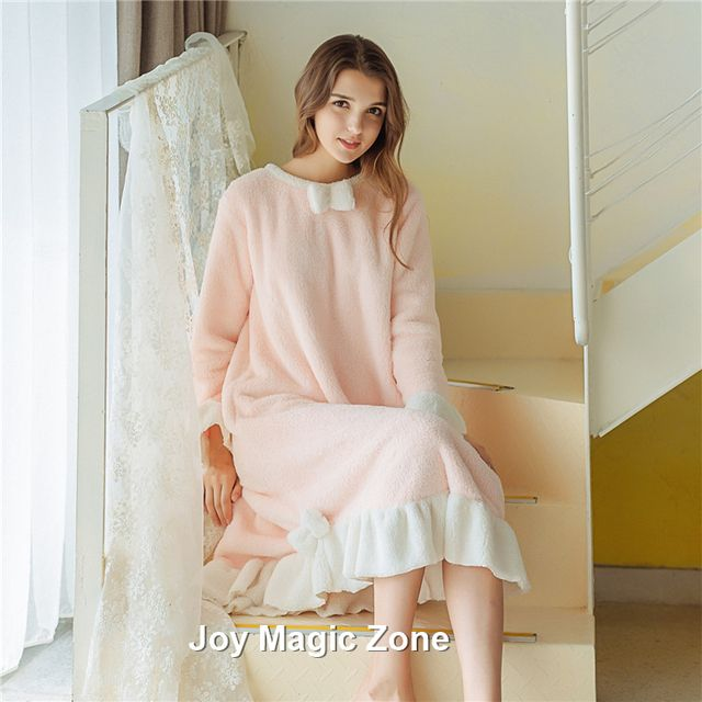 Free shipping A227 2016 new arrival autumn and winter women's nightgown one piece sleep dress sweet royal keep warm sleepwear