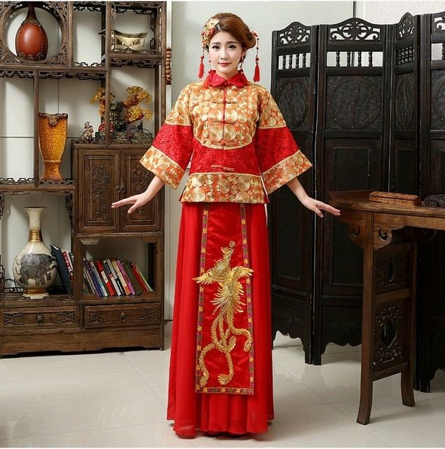 Free shipping maternity wedding dresses chinese style wedding dress formal dress clothes red vintage long-sleeve tang suit XH-05