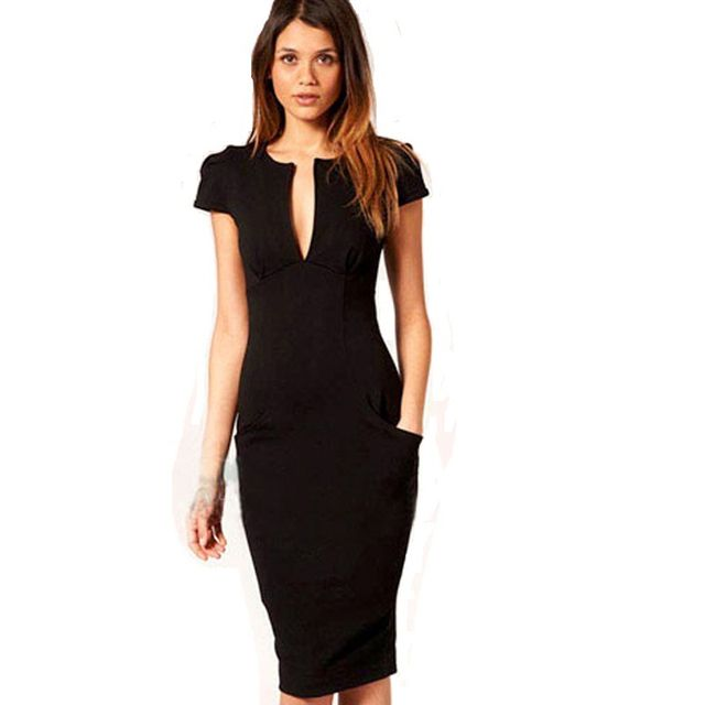 Women Summer Charming Sexy Pencil Dress Style Vestidos Pockets Knee-length Bodycon Slim Business Sheath Party Dress 414