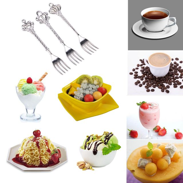 3Pcs Forks Classic Vintage Fruit Fork Metal Cake Dessert Forks Salad Picks Dinnerware Set Kitchen Dining Bar Tools