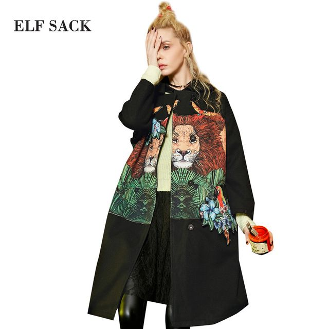 Elf SACK w winter embroidery, three-dimensional applique embroidered beads overcoat woolen outerwear long design