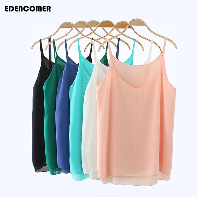 2017 Summer Sexy Chiffon Tops Plus Size XL- 4XL Fashion asual Top Women Female Halter Top Sleeveless Solid T-shirt 6 Colors