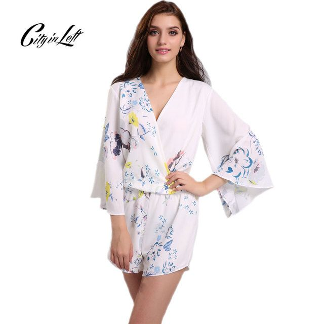 2018 Fashion Women Chiffon Jumpsuits Printed White Long Sleeve Shorts Feminina Sexy Deep V Neck Jumpsuits Chiffon Rompers 1101