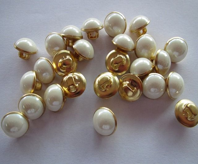 Fress shipping 10mm  brass bottom with white plastic  combined button women shirt button gold color button 100pcs
