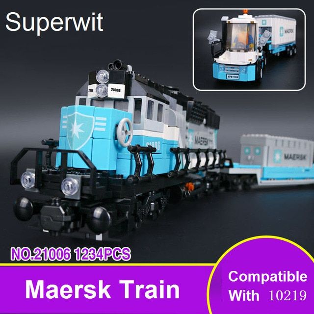 Superwit 1234Pcs Lepin 21006 Genuine Technic Ultimate Series The Maersk Train Set Building Blocks Bricks Educational Toys Gifts