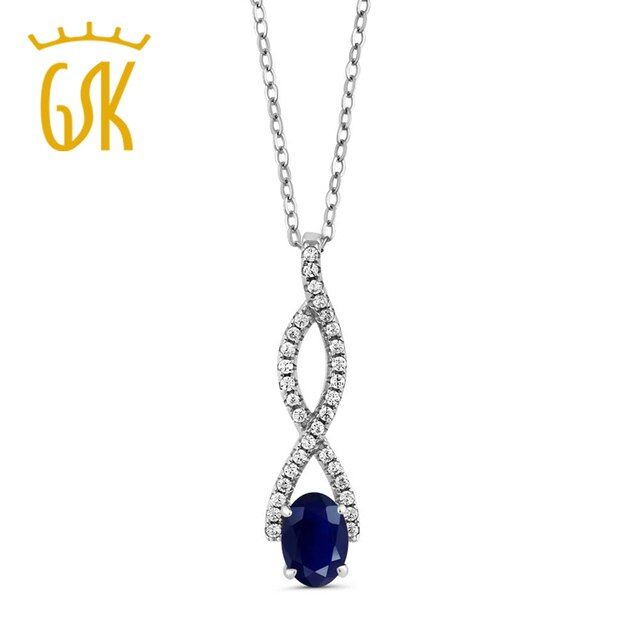 GemStoneKing Vintage 925 Sterling Silver  Fine Jewelry 1.40 Ct Oval Natural Blue Sapphire Infinity Pendant For Women