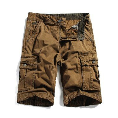 Tooling shorts knee-length casual cotton capris multi-pocket breeched male  3XL men's clothing big size