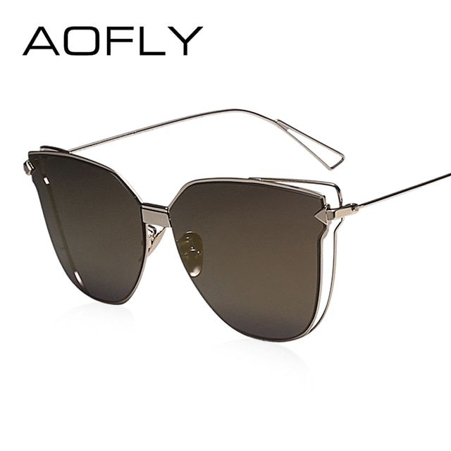 AOFLY Women Metal Cat Eye Sunglasses Double Frame Mirror Sun glasses Fashion Lady Brand Design Cat Eye Unique Style High Quality