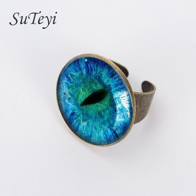 SUTEYI 2017 Classic Picture Jewelry Bronze Silver Adjustable Ring in the DarkNew Style Blue Cat Eye Ring Glass Dragon Eye Rings