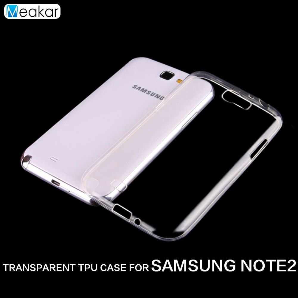 Transparent Soft TPU 5.5For Samsung Galaxy Note 2 Case For Samsung Galaxy Note 2 Note2 N7100 Cell Phone back Cover Case
