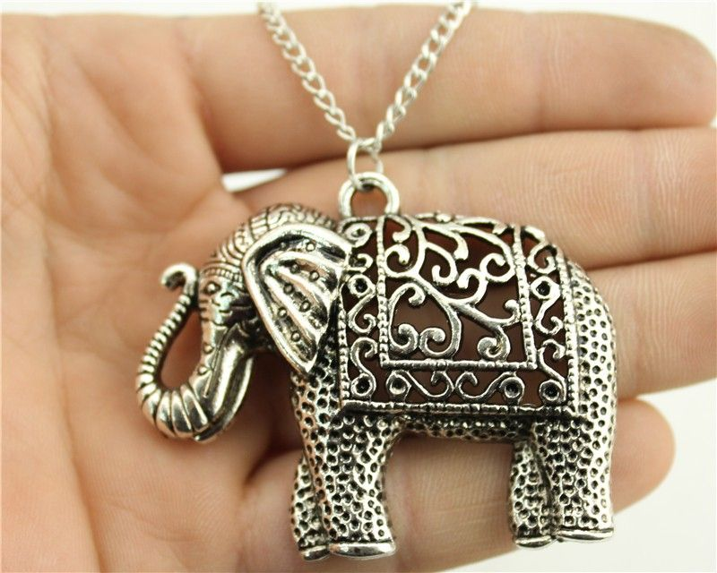 WYSIWYG Fashion Antique Silver Color 59x47mm Elephant Pendant Necklace, 70Cm Chain Long Necklace Dropship Suppliers