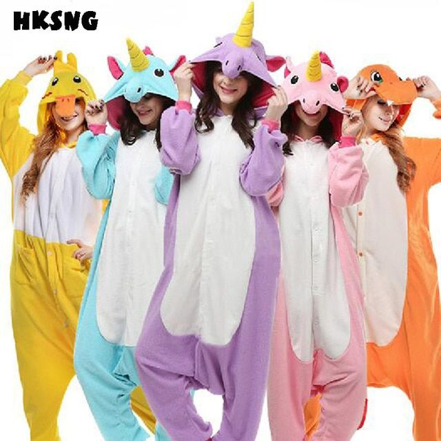 HKSNG Unicorn Pikachu Pokemon Pajamas Fox Espeon Blue Lemur Catta Seal Wolf Animal Dog Black Cat Onesie Kigurumi Cosplay Costume