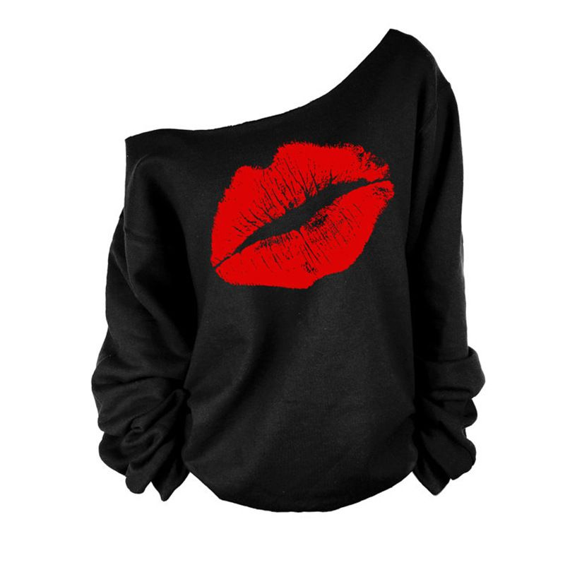 Plus Size 2015 Sexy Casual Female Pullovers Printed Lip Sweatshirts Fashion Off The Shoulder Women Long Sleeve Sweatshirts C6854