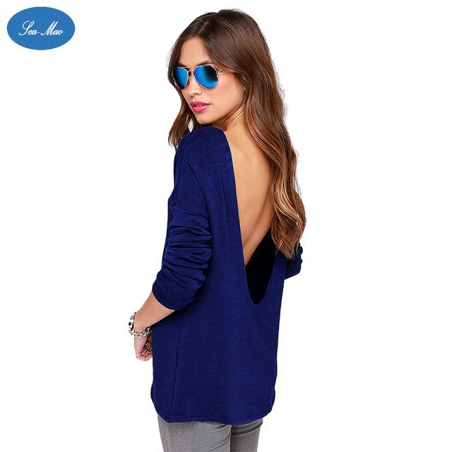 Sea mao European and American Women's Back Deep V Solid Round Neck Long Sleeved Female Loose Solid Elegant Blouses Shirt Top