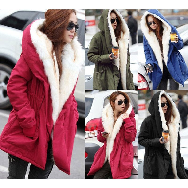Winter Coats Womens Hooded Jackets Large Cotton Faux Fur Thick Ladies Down & Parkas Adjustable Waist Flocking Outcoat