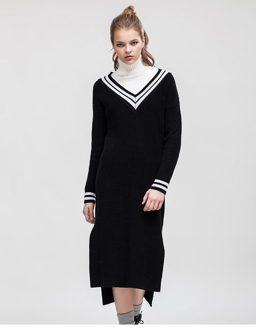Westlink 2017 Spring New Contrast Color V-neck Irregular Length Slits Hem Medium Knee-Length Women Sweater Knitted Dress