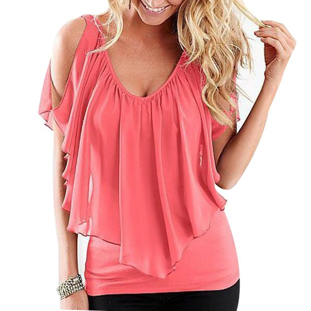 Summer Sexy women blouse Women Sleeveless Irregular Chiffon Blouses Off The Shoulder Women Tops FREE SHIPPING LJ1254M