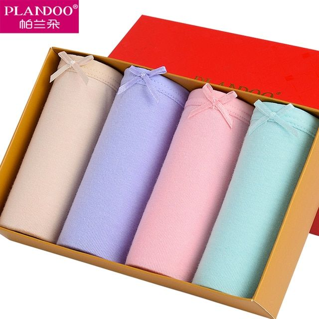 Women Pants 4 Pack Seamless Panties Antibacterial PLANDOO Hot Sexy Briefs Intimate 100 Cotton Female Solid Bow Panties for Women