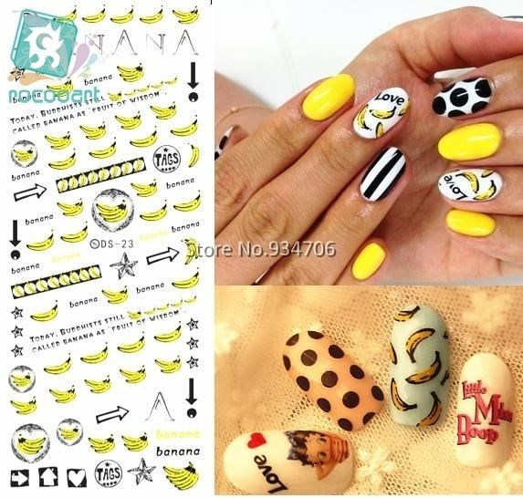 Rocooart DS023 Golden 2017 Nail Diy Art Tips Decoration Sticker Nails Wraps Styling Glitter Banana Cute Water Transfer Sticker
