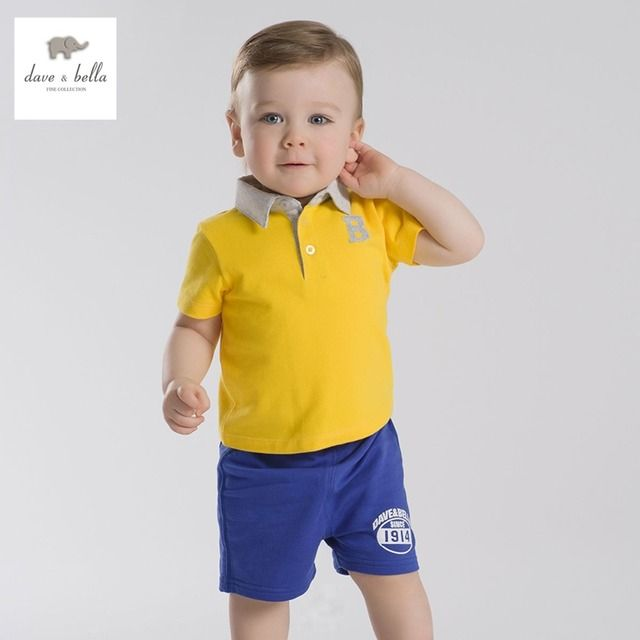 DB2633 dave bella summer baby boys sports clothing sets polo sets infant clothes toddle polo children football sets kids cloth