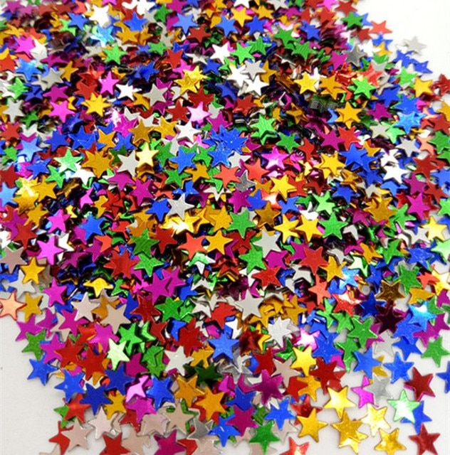 Hot 8000PCS 9 color Little stars sequins confetti 4mm DIY Clothing gift wedding Party art decoration Multifunctional