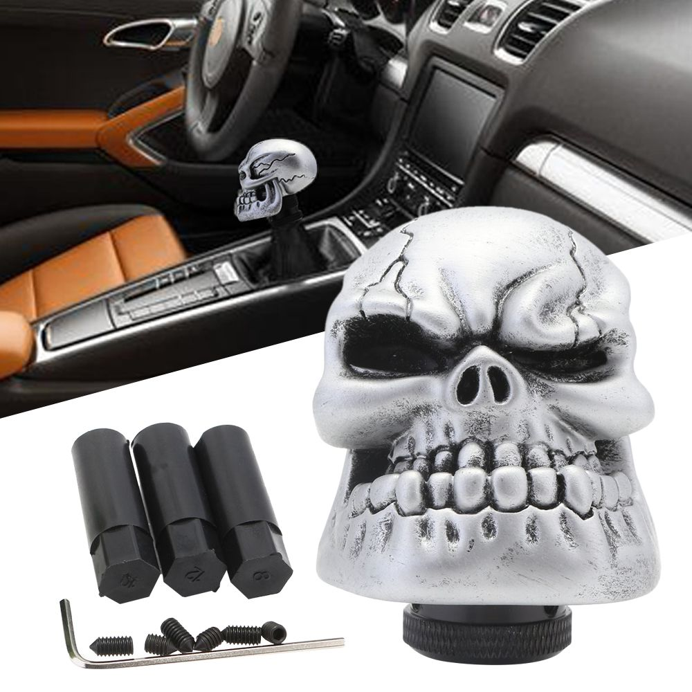 Universal Car Manual Gear Shift Knob Stick Shifter Lever Wicked Carved Silver Skull Pomo Marchas Auto Gear Knob