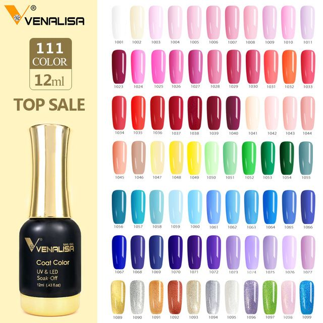 12ml Gel Varnish 2019 Nail Art hot sale Colors VENALISA Soak off Organic Odorless Enamels LED UV Nail Gel color Polish