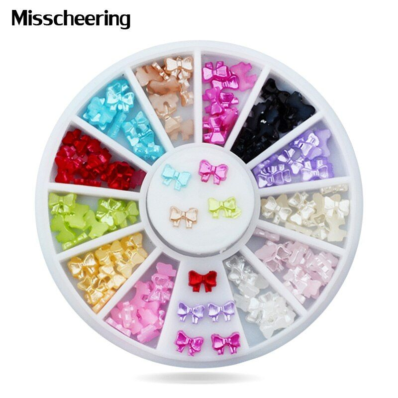 5mm New Butterfly Resin Nail Decoration Rhinestone Charm 3d Nail Tips Sticker Wheel DIY Manicure Nail Accessories