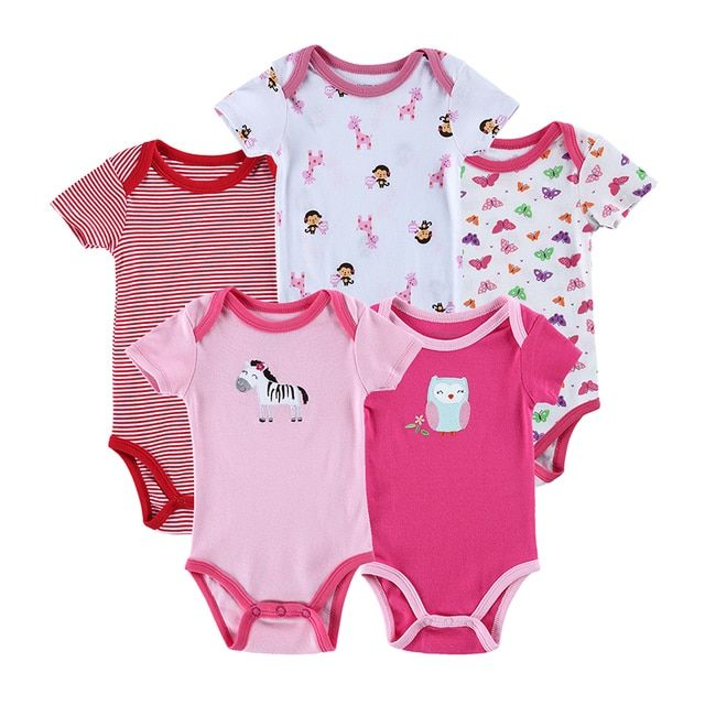 5PCS Baby Girl Clothing Set Baby Bodysuit Summer Cotton Baby Boy Short Sleeve 100%Cotton Printed Style Jumpsuit  Mother & Kids