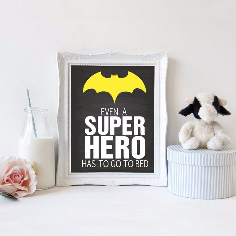 Even a Super Hero Has to Go To Bed Classic Nursery Decor Canvas Painting Poster Print Wall Art Picture Kids Baby Room Home Decor