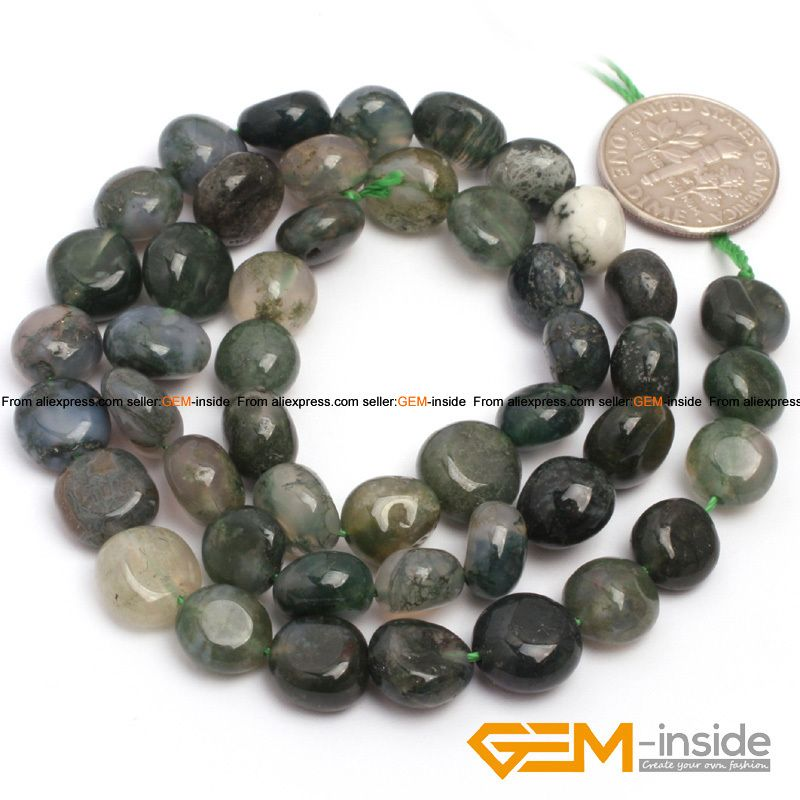 "9x12mm freeform potato shape moss agat beads natural agat stone beads loose beads for jewelry making strand 15"" wholesale !"
