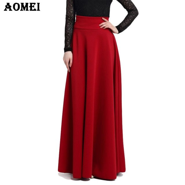 S M L 5XL New High Waist Pleat Elegant Skirt Wine Red Black Solid Color Long Skirts Women Faldas Saia 5XL Plus Size Ladies Jupe