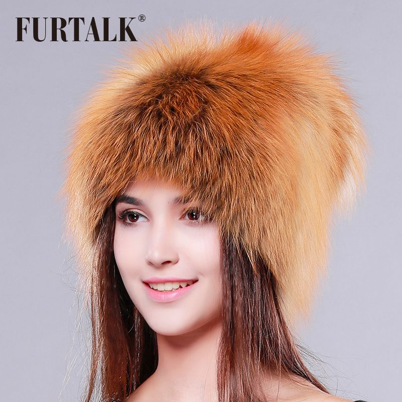 FUETALK whole set luxury fox fur hat women winter fur hat fashion fur hat for women