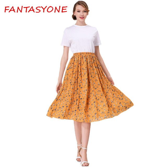 FANTASYONE 2017 Summer Vintage Bohemia Chiffon Floral Printed Skirt Women Boho Long Maxi Beach Party Loose Elastic Waist Faldas