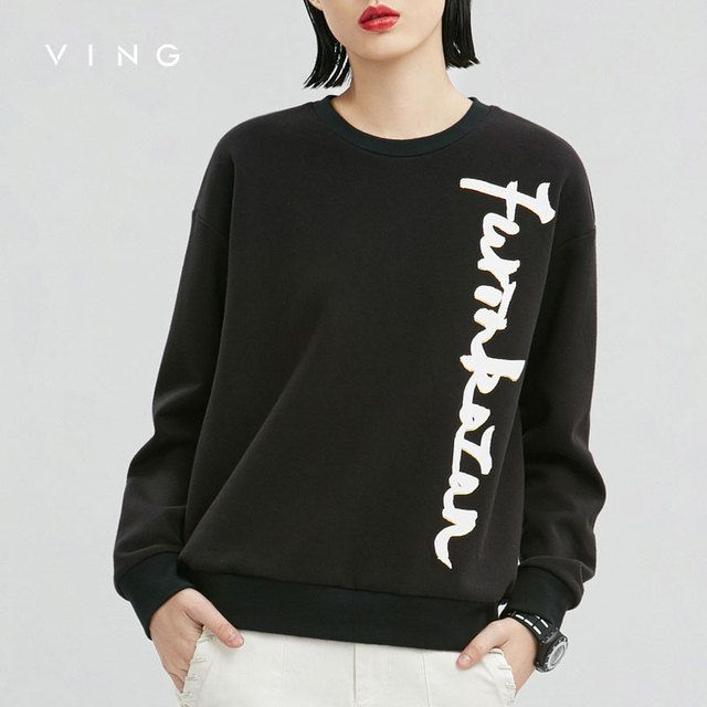 VING Winter Sweatershirts Women Simple Loose Custom Print O-Neck Long Sleeve Pullovers Casual Hoodies