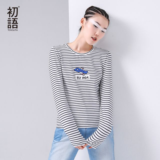Toyouth Autumn Women T-Shirts Casual Long Sleeve O-Neck Cotton Top