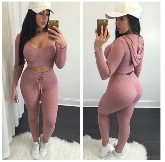 2016 fashion high quality women sexy casual elastic knitting long-sleeve cropped tops hoodies and pants two pieces sets suits
