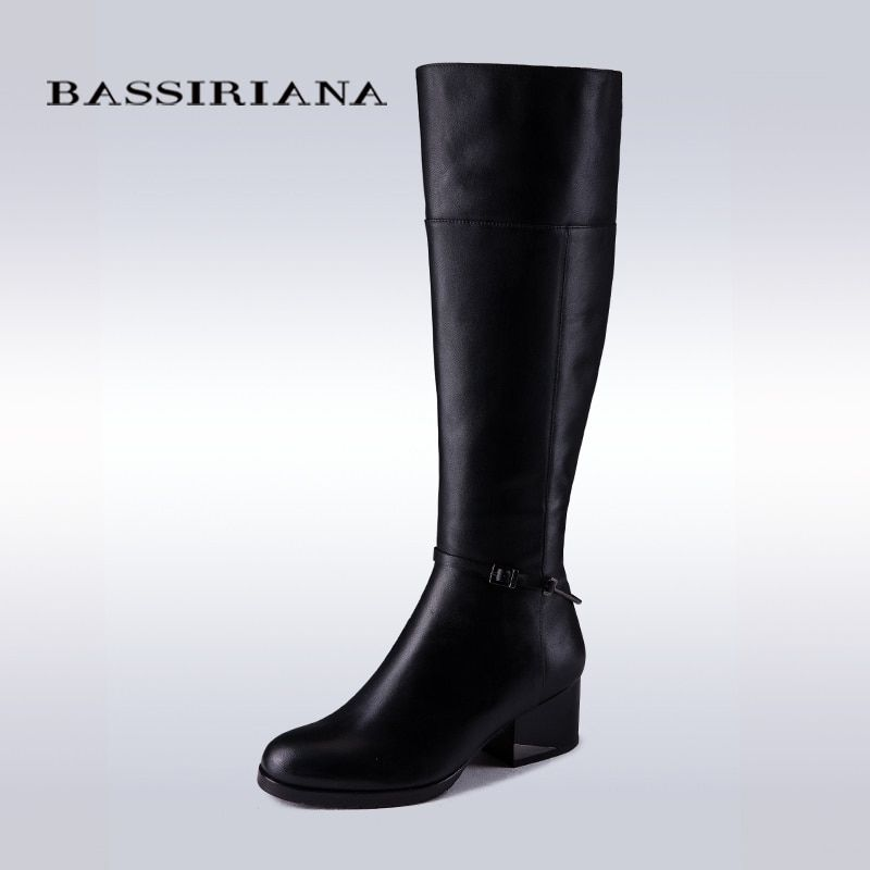 BASSIRIANA Fashion Arrival Winter Mid-Calf Women Boots Black Flats Heels Knee High Boots Autumn Snow Genuine Leather Boots Women