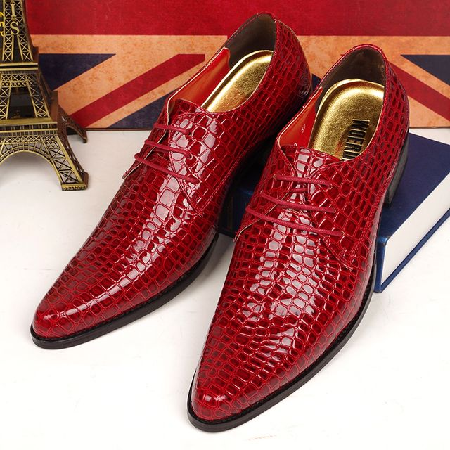 4 cm high thick heels men casual business wedding dress crocodile skin genuine leather shoes pointed toe oxfords shoe masculino