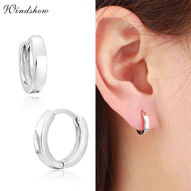 Slim 925 Sterling Silver Mini Loop Huggies Circle Small Hoop Earrings For Womens Mens Children Girls Kids Jewelry Aros Aretes