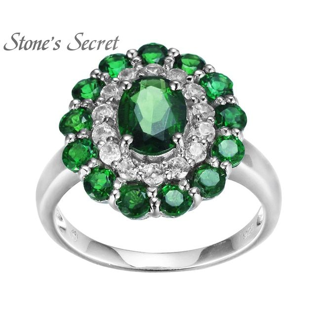 Stone's Secret 2.96ctw Oval And Round Russian Chrome Diopside With .50ctw Round White Zirconia Sterling Silver Ring