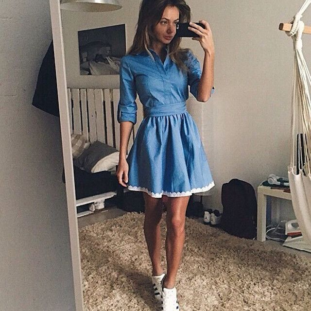 2016 Denim Dress With Lace Women Casual Solid Blue Lace Thin Denim Dresses Slim Long Sleeve Plus Size Dresses Women Clothing