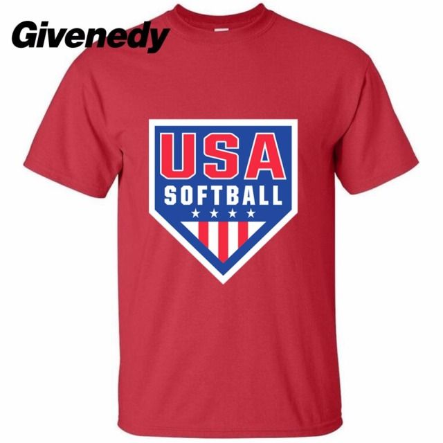 Vintage Team USA Softball Logo Men's  Retro 100% cotton short sleeve T Shirt