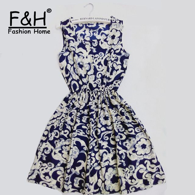 F&H Brand 18 Color Fashion Women New Sleeveless Round Neck Florals Print Dress 2015 Saias Femininas Summer Clothing