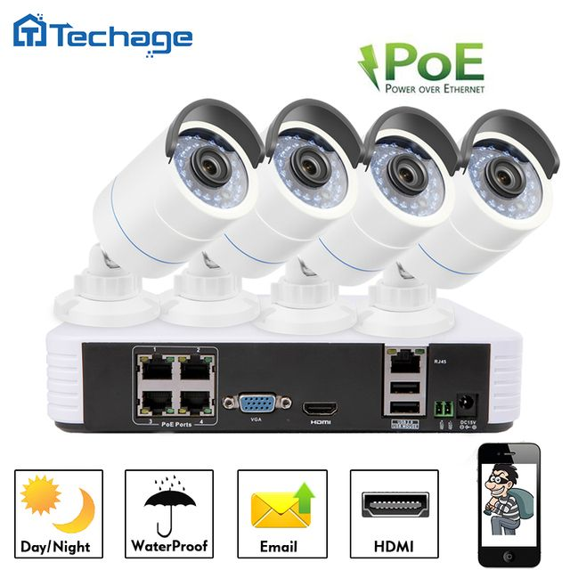 Techage 4CH 1080P POE NVR 2.0MP CCTV System Security 3000TVL POE IP Camera Onvif P2P Waterproof Outdoor Home Surveillance Kit